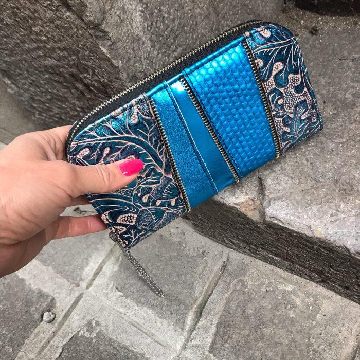 Greek blue chic leather maxi wallet EvilEve