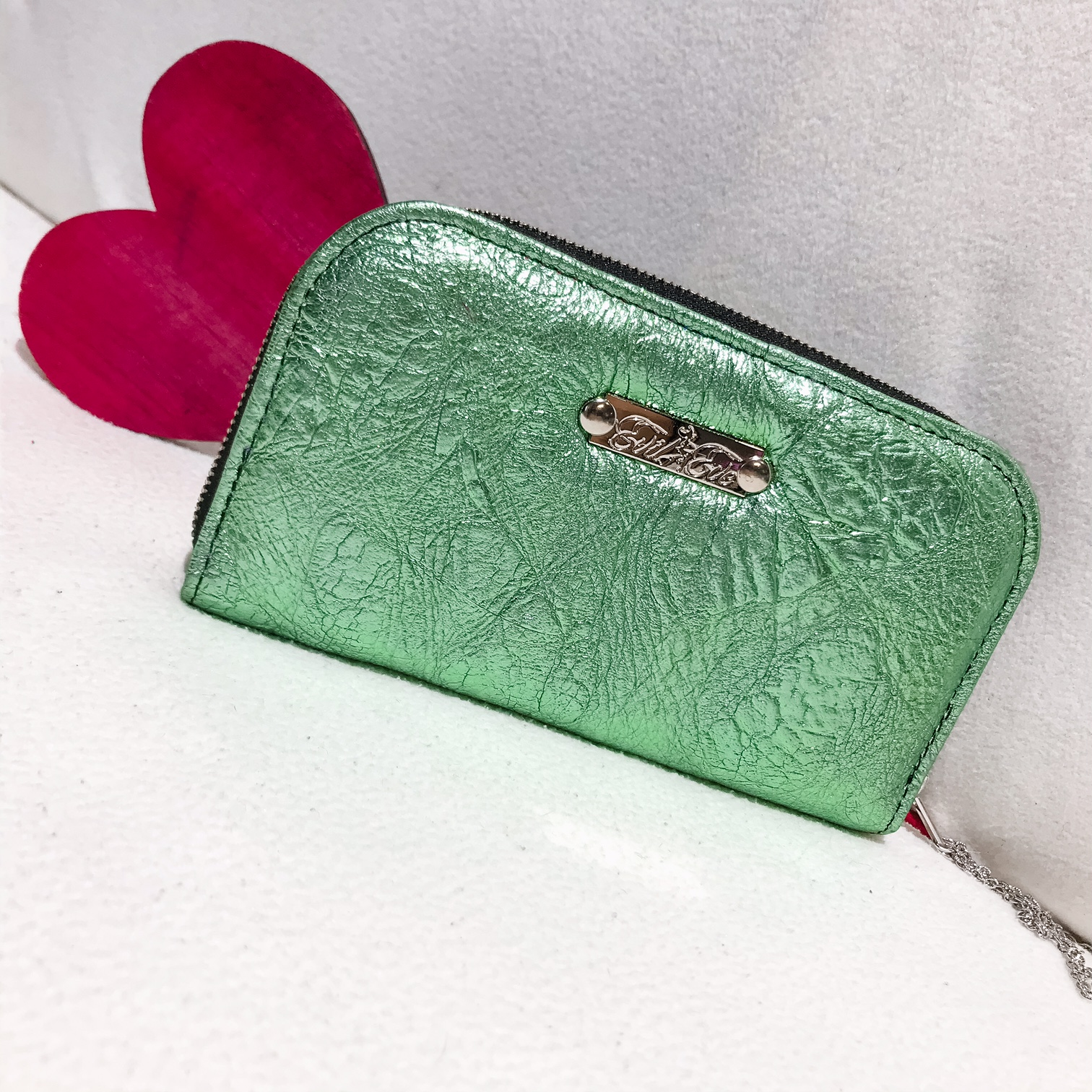 Mint Love chic leather maxi wallet EvilEve