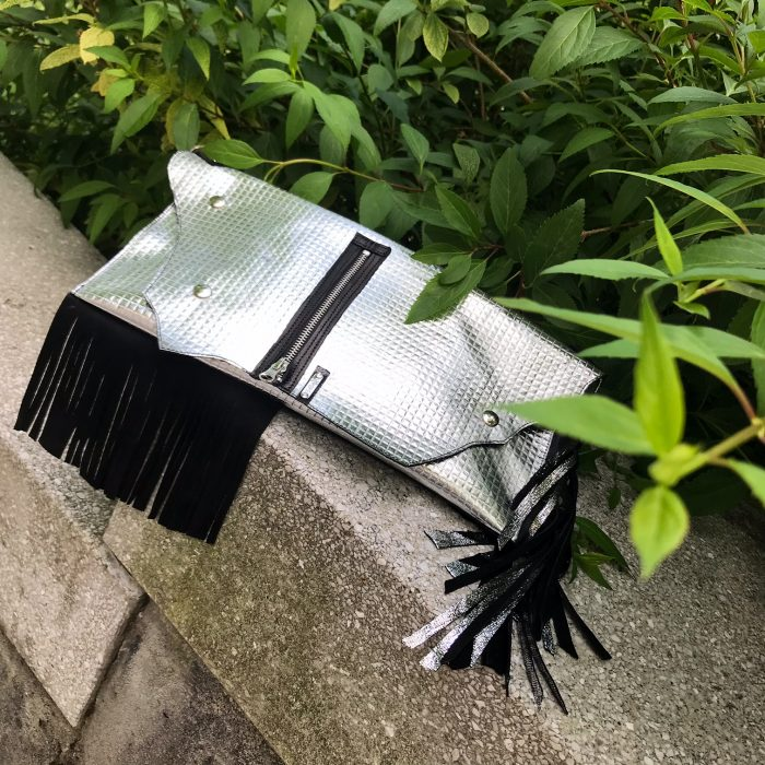 unique leather clutch Silver Fringe EvilEve