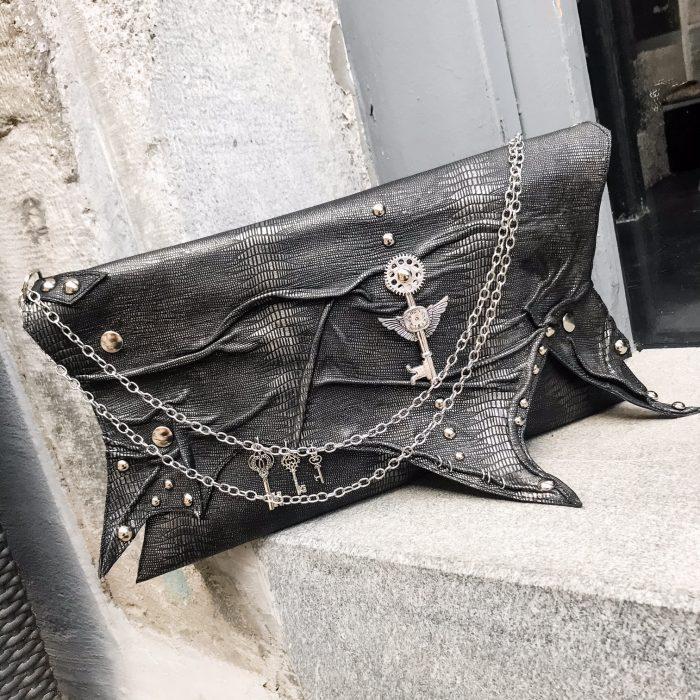 unique leather clutch Antracit Edge EvilEve