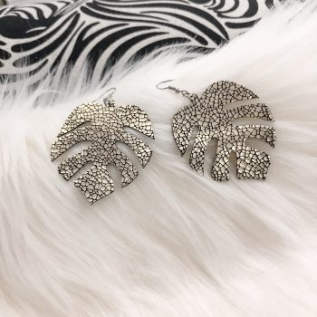 unique leather earrings Monstera Chic EvilEve