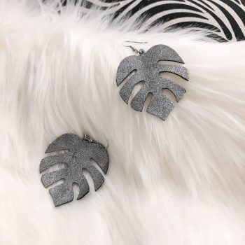 unique leather earrings Monstera Glittery Silver EvilEve