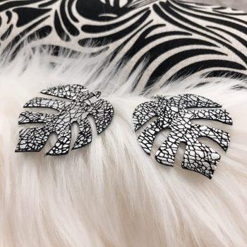 unique leather earrings Monstera Silverglass EvilEve