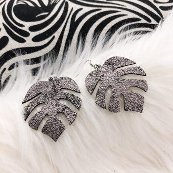 unique leather earrings Monstera Lavender EvilEve