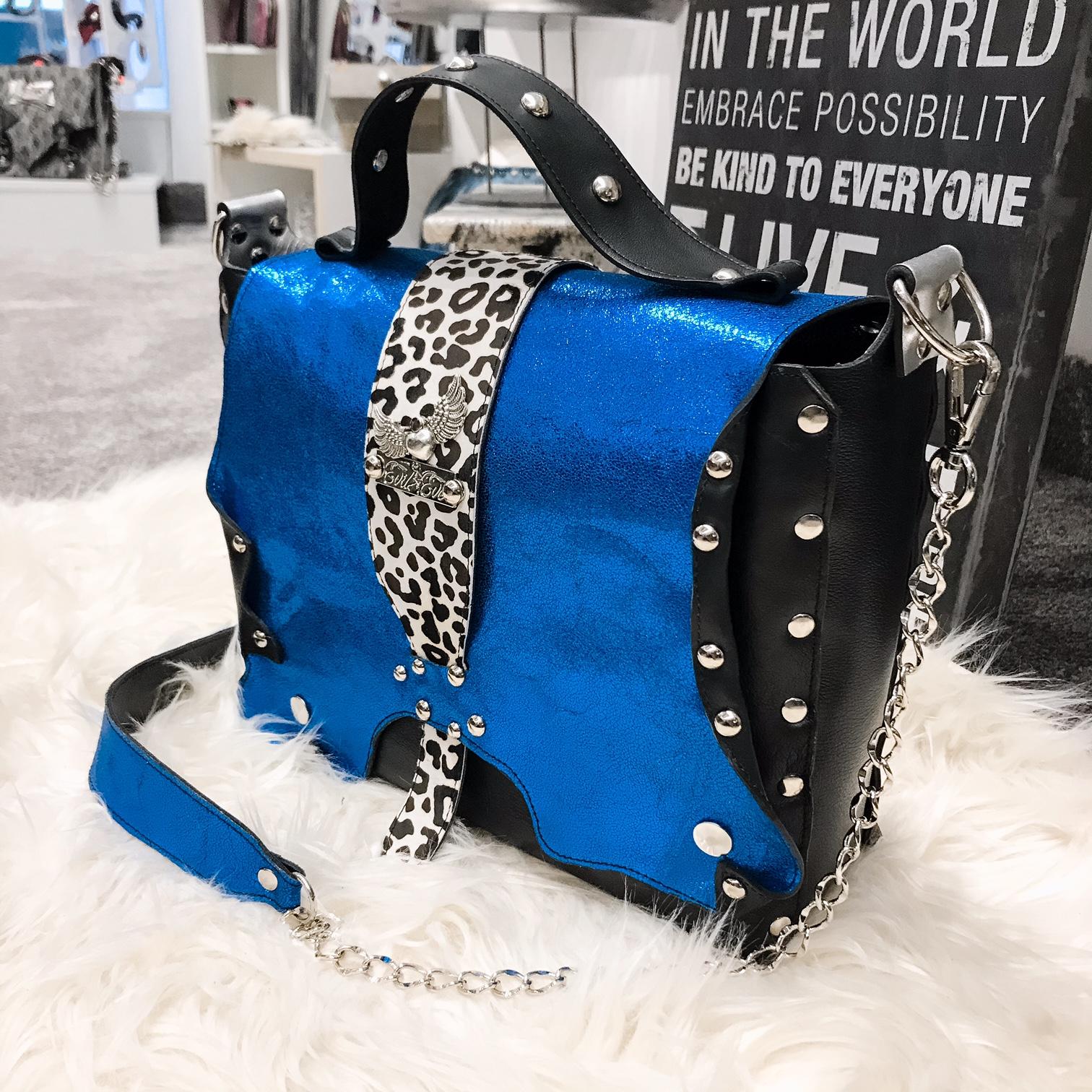 unique leather messenger bag Santorini blue EvilEve