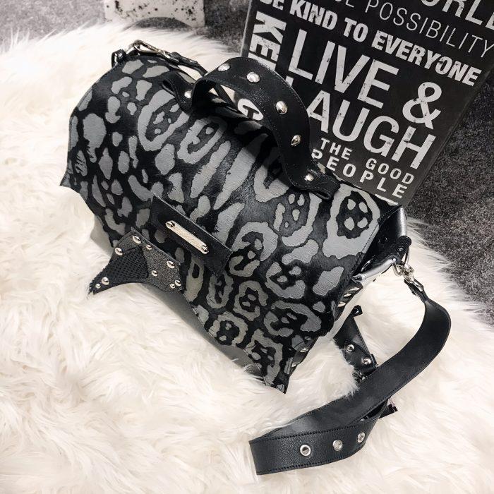 unique leather messenger bag Sugarcube Gray EvilEve
