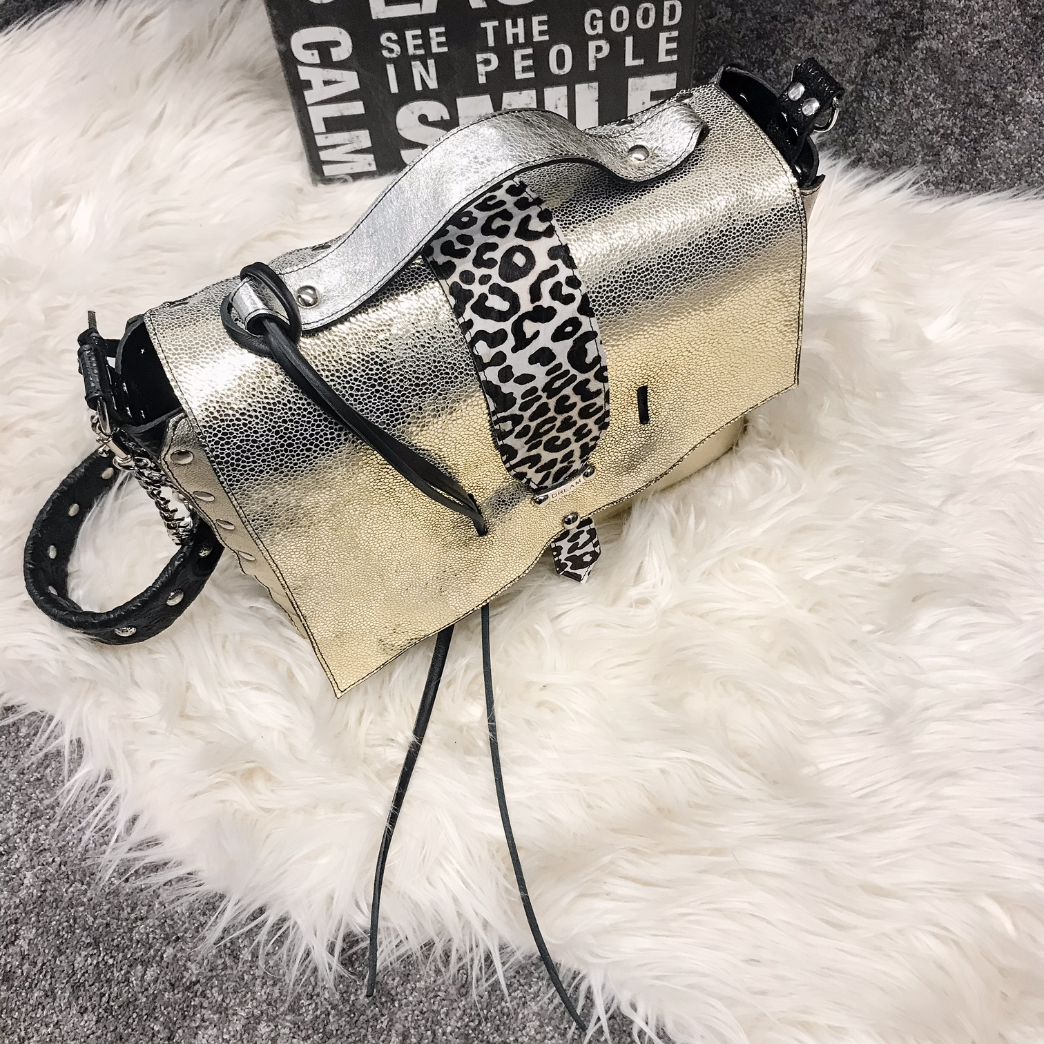 unique leather Messenger Bag Sandy Platinum EvilEve