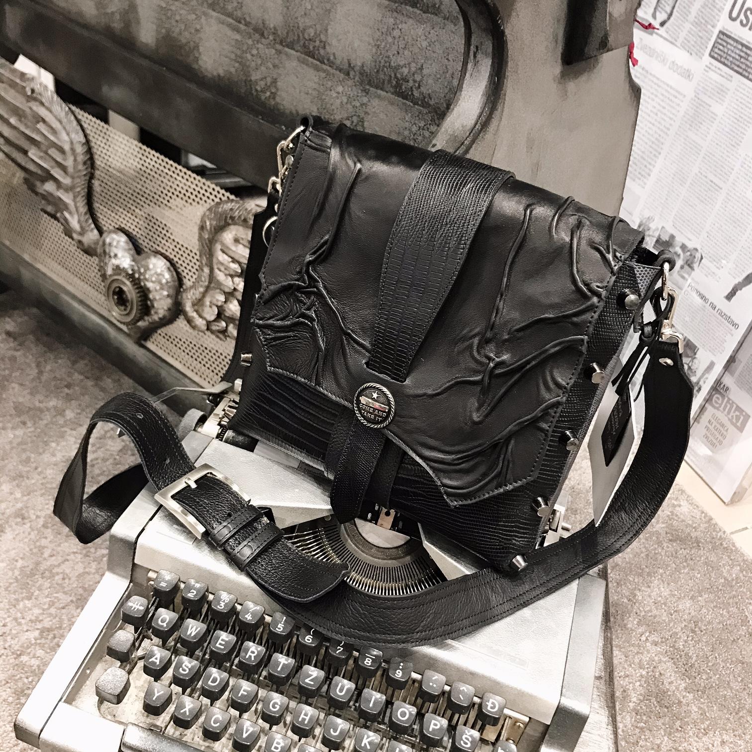 unique leather messenger bag Unisex Rock EvilEve